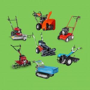 Diverse fahrbare Motorgeräte für Haus, Hof und Garten