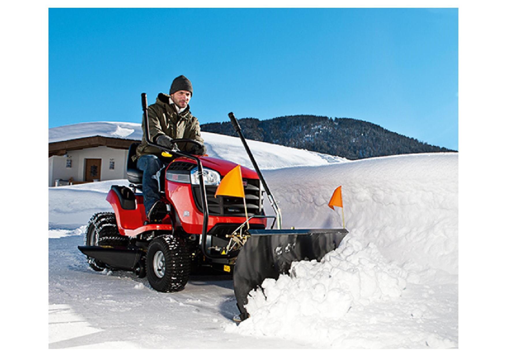 Rasentraktor Aufsitzmäher mit Schneeschild Winterpaket Winterdienst günstig kaufen