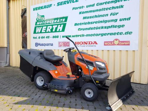 Rasentraktor Husqvarna TC 142T mit Schneeschild für Wintereinsatz günstig kaufen