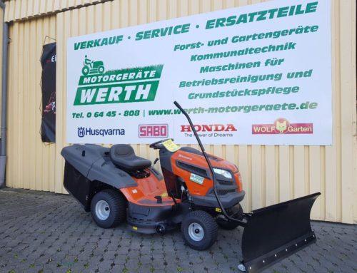 Rasentraktor Husqvarna TC 139T jetzt günstig kaufen im Winterpaket mit Schneeschild und Schneeketten
