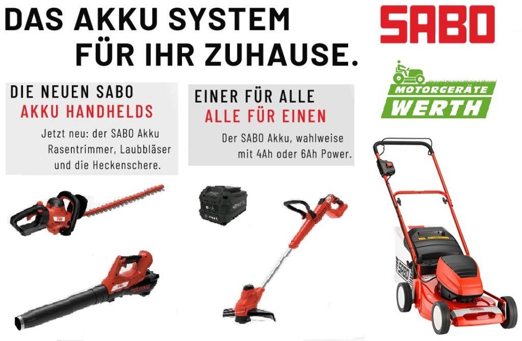 Sabo Akku System Rasentrimmer Laubbläser Blasgerät Heckenschere Rasenmäher günstig_kaufen